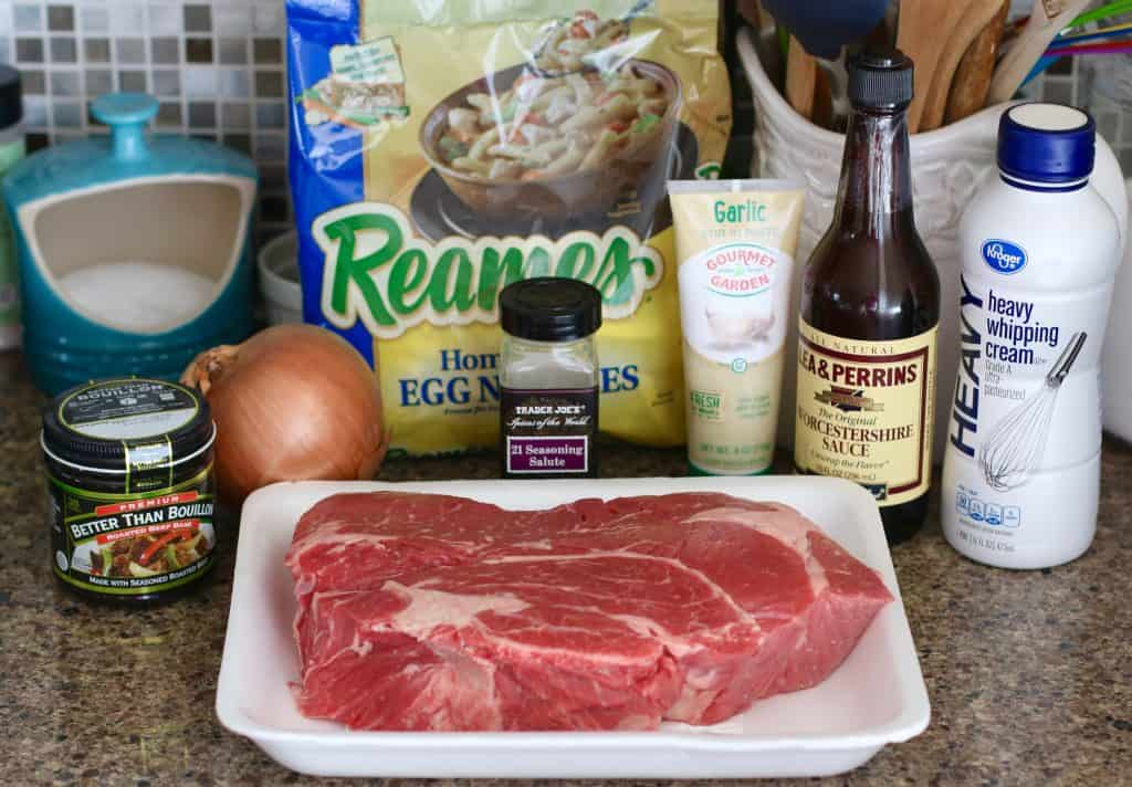 beef roast, off noodles, garlic, steak seasoning, onion Worcestershire sauce, Better than Bouillon
