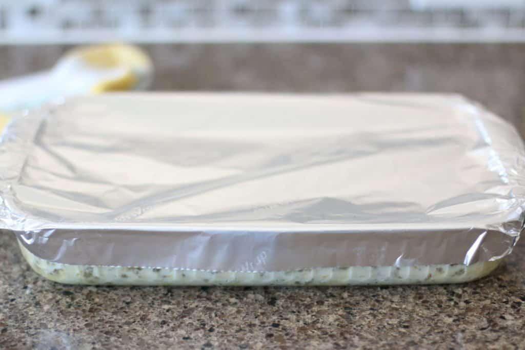 aluminum foil covered baking dish