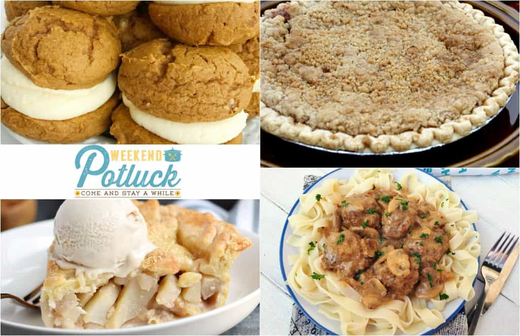 Weekend Potluck 293 - Amish Apple Crumble Pie