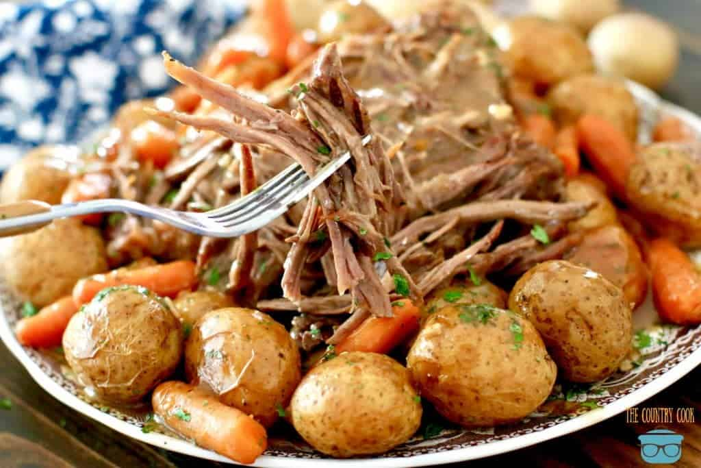 Electric Pressure Cooker Beef Pot Roast with potatoes and carrots and gravy