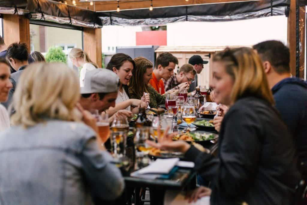 meeting, meal, people