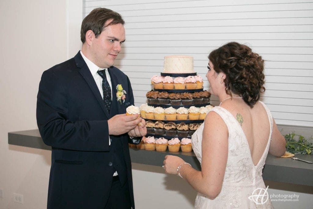 wedding cake by cup cakes