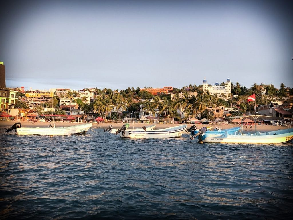 Boats in Puerto Escondido beaches