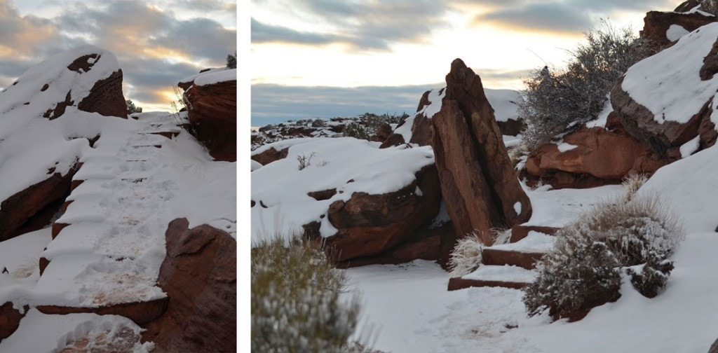 Rim-Walk Trail in Canyonlands in winter with snow covered red rock