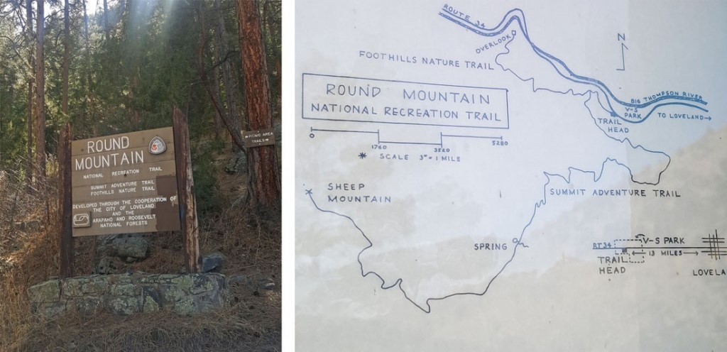 Hand drawn map of the trail system at Round Mountain