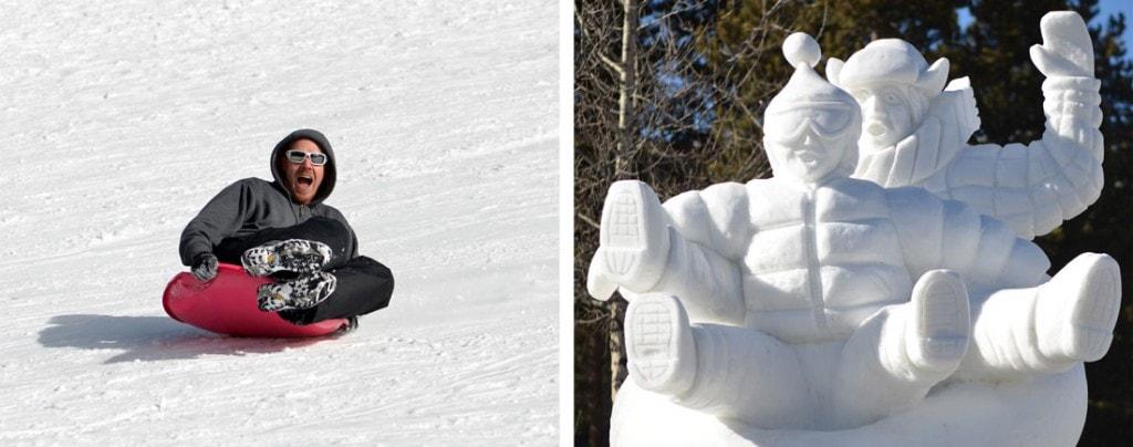 sledding down Hidden Valley hill and Breckenridge Ice Sculptures