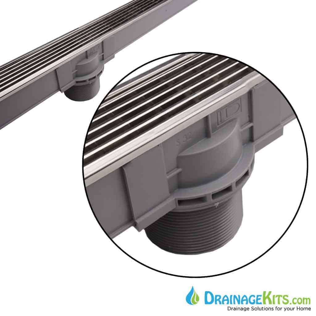 polished steel pool spa shower drainage