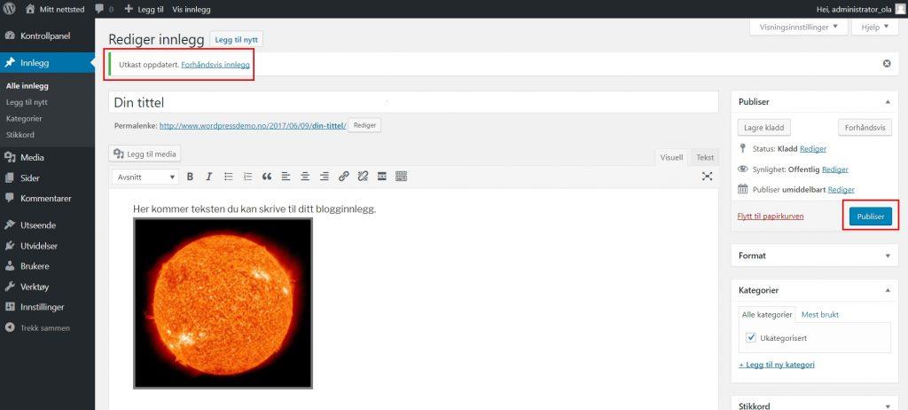 Slik skriver du innlegg i WordPress 7