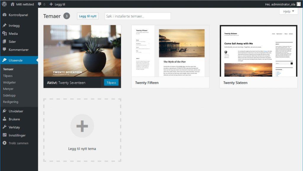Wordpress - Temaer skjermbilde