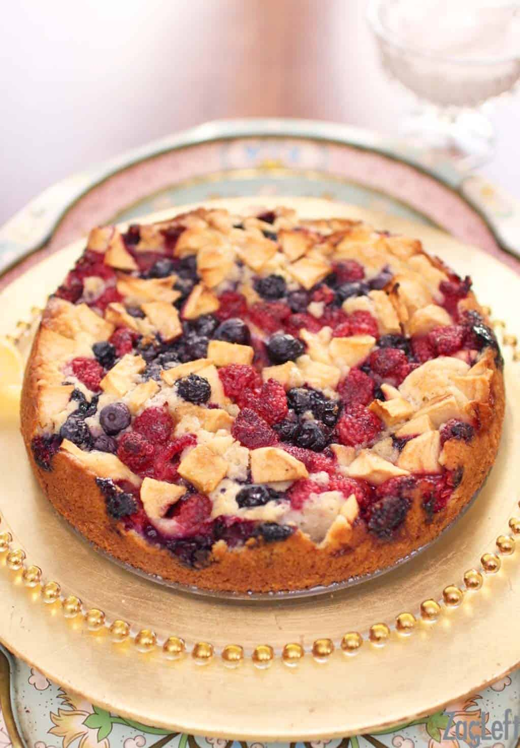 Delicious Apple Berry Coffee Cake topped with blueberries, raspberries and apples... | www.zagleft.com
