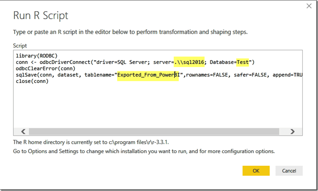 R Script for Exporting Power BI Data to SQL Server