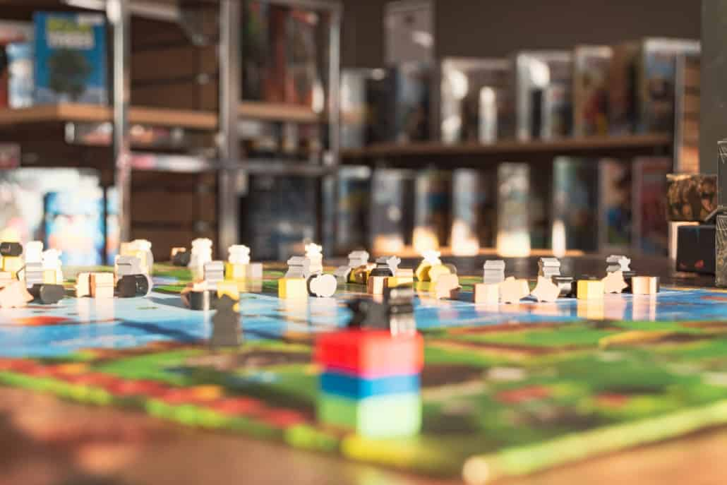 Board game on a table in a bar in montreal