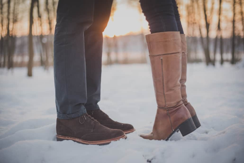 Guy and girl standing in the snow