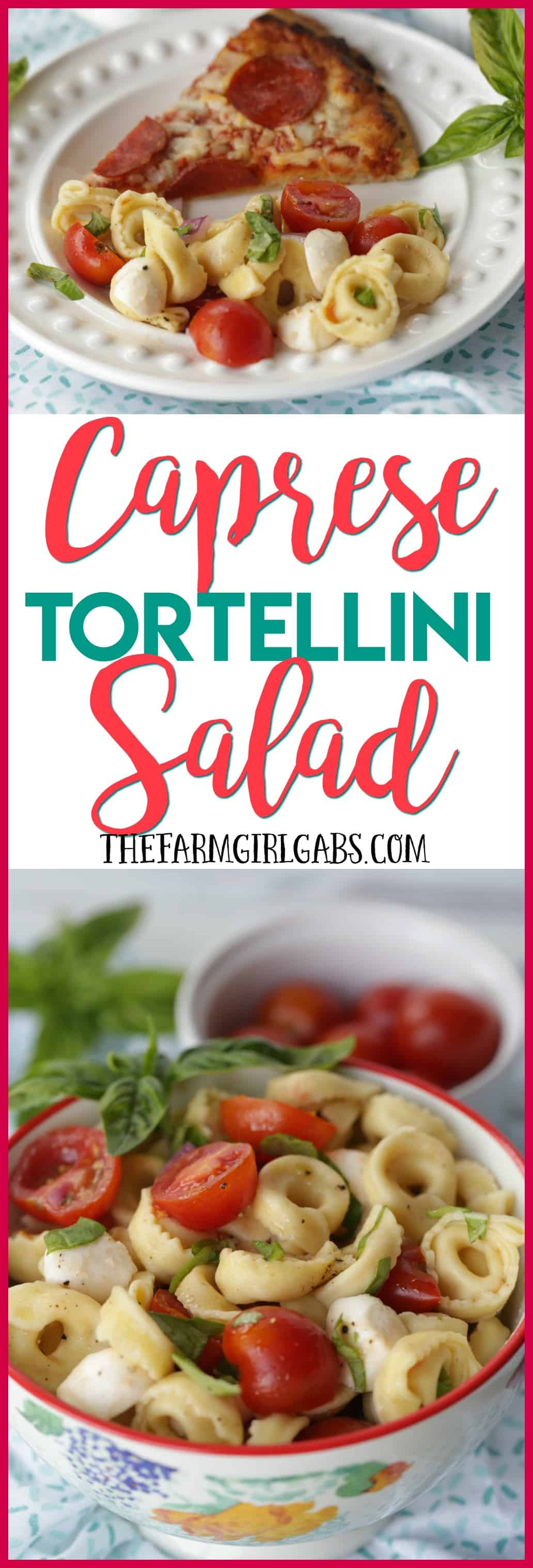 Turn pizza night into party night with this delicious Caprese Tortellini Salad. This recipe is the perfect quick side dish for a weeknight dinner or party. #Ad #WinWithTonysPizza