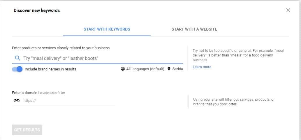 google keyword planner discover new keywords