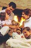 family talking fireplace