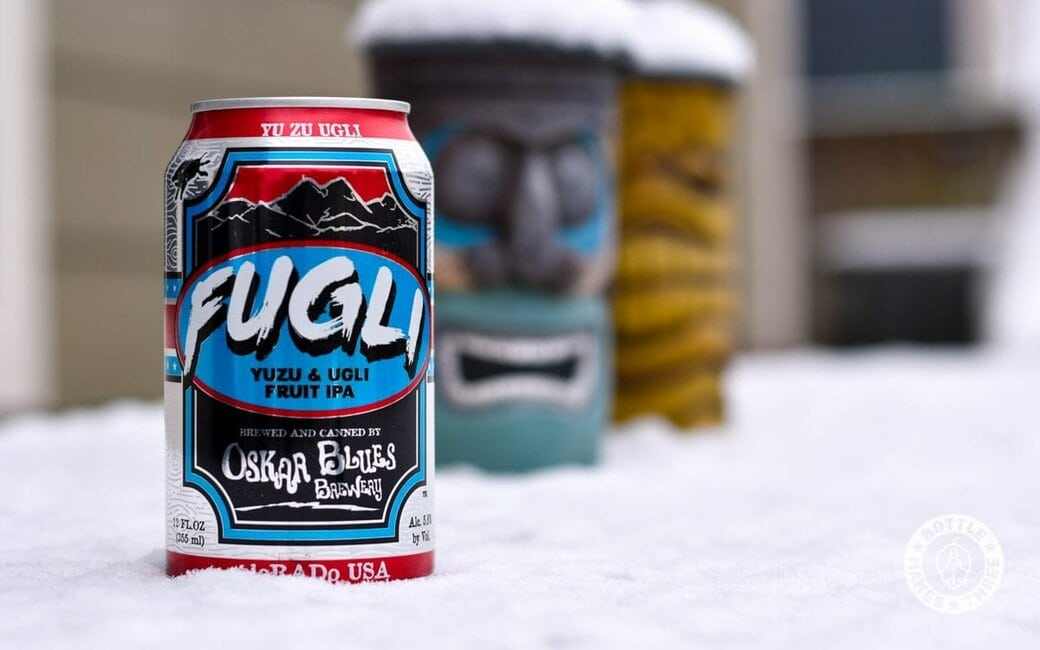 FUGLI Yuzu & Ugli Fruit IPA from Oskar Blues Brewery. Made for summer days, but still delicious when springtime weather throws us a curveball.
