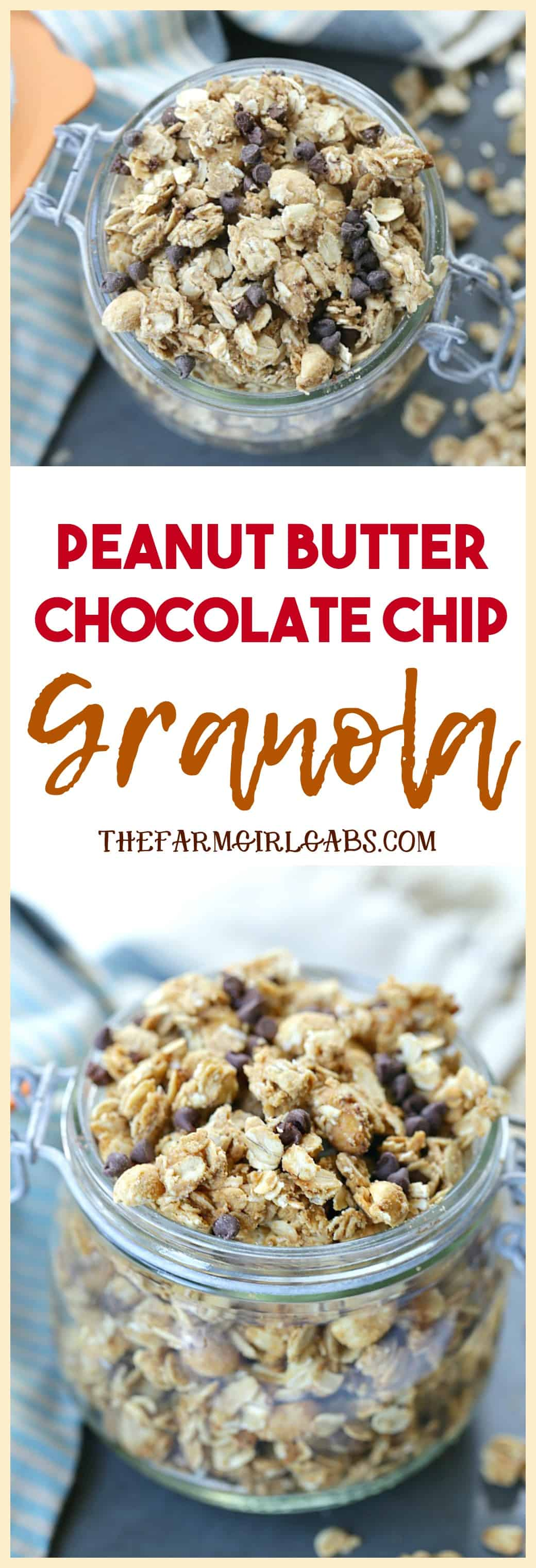 For breakfast or a quick snack, this easy Peanut Butter Chocolate Chip Granola recipe will have everyone begging for more! #granola #chocolaterecipe #granolabars #breakfast