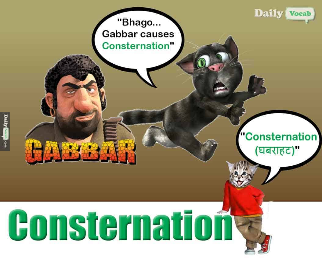 consternation meaning in Hindi