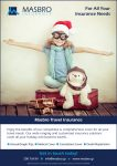 Masbro Insurance Travel advert of cute girl with Christmas hat
