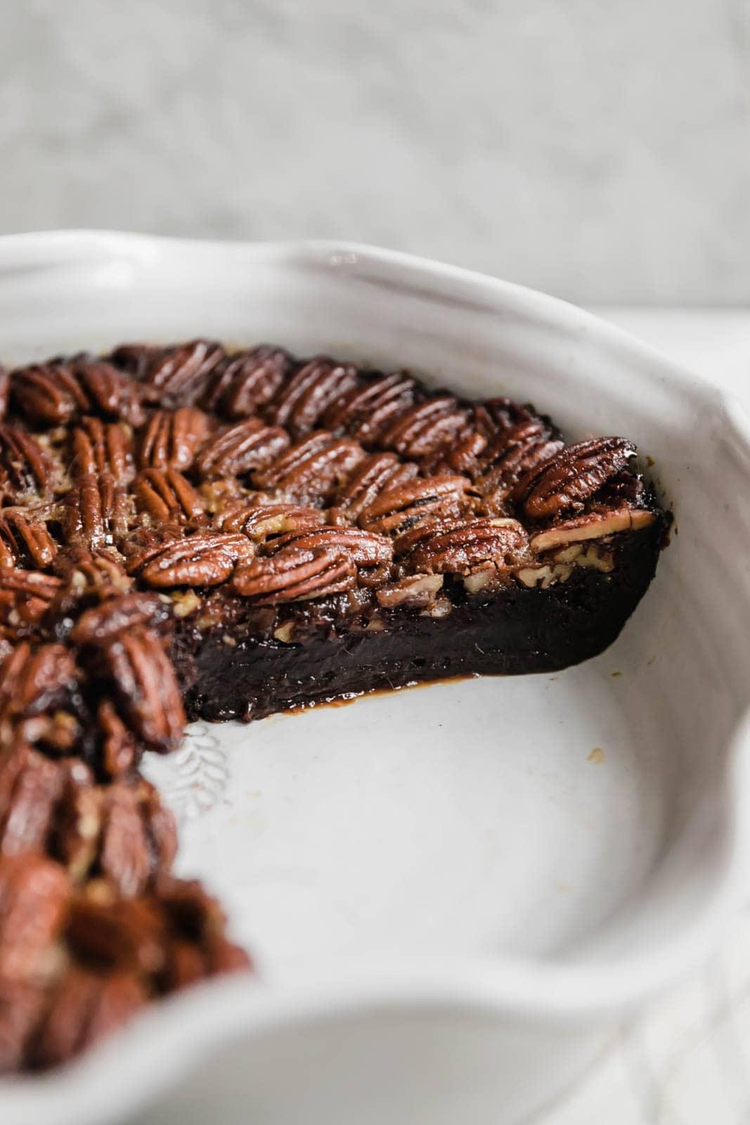 Brownie Pecan Pie sliced