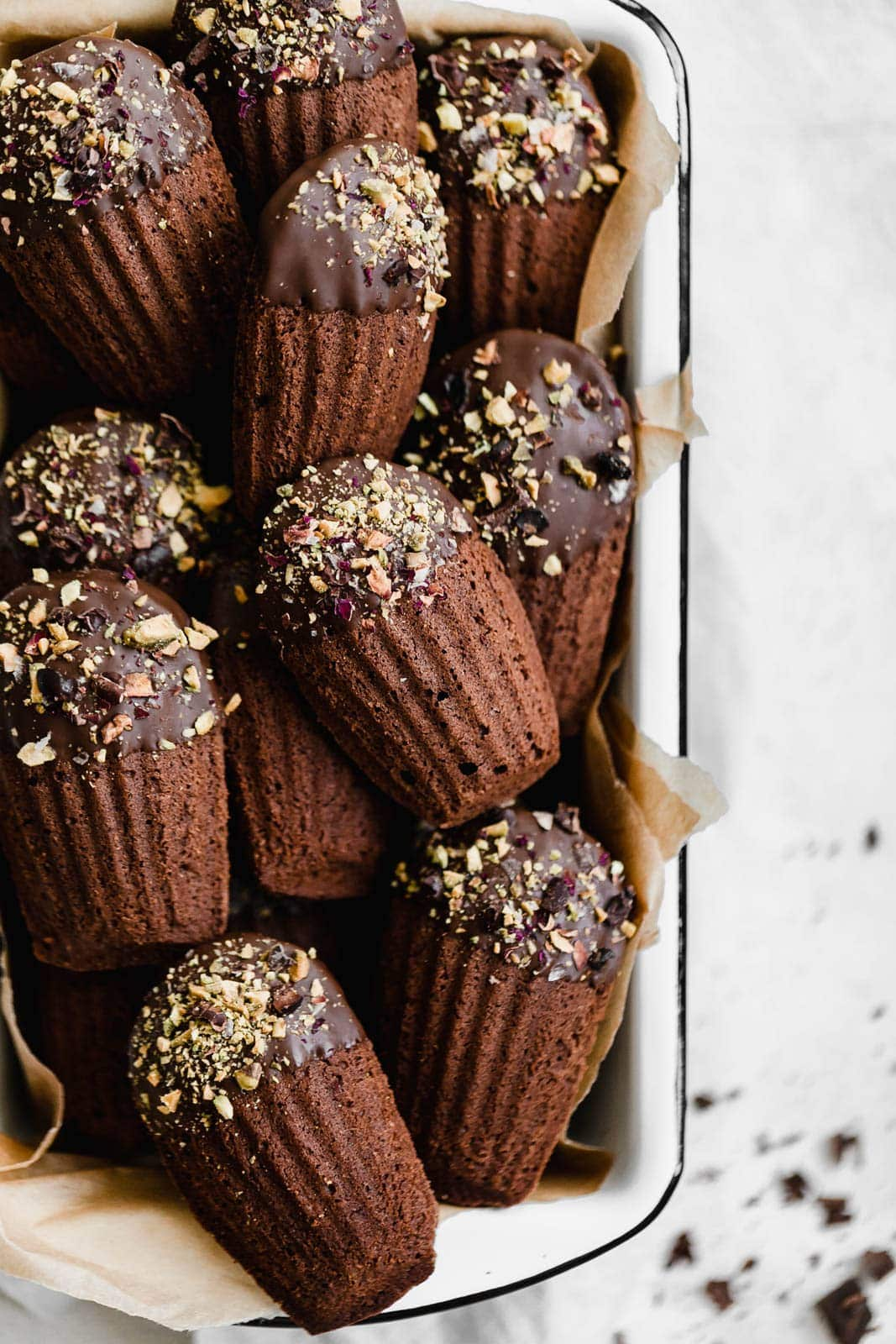 Chocolate-Dipped Chocolate Madeleines in loaf pan