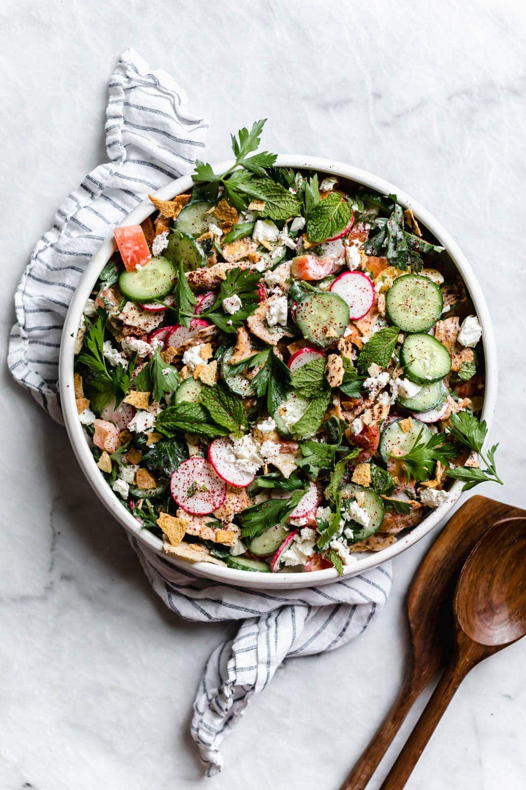 fattoush salad in serving bowl