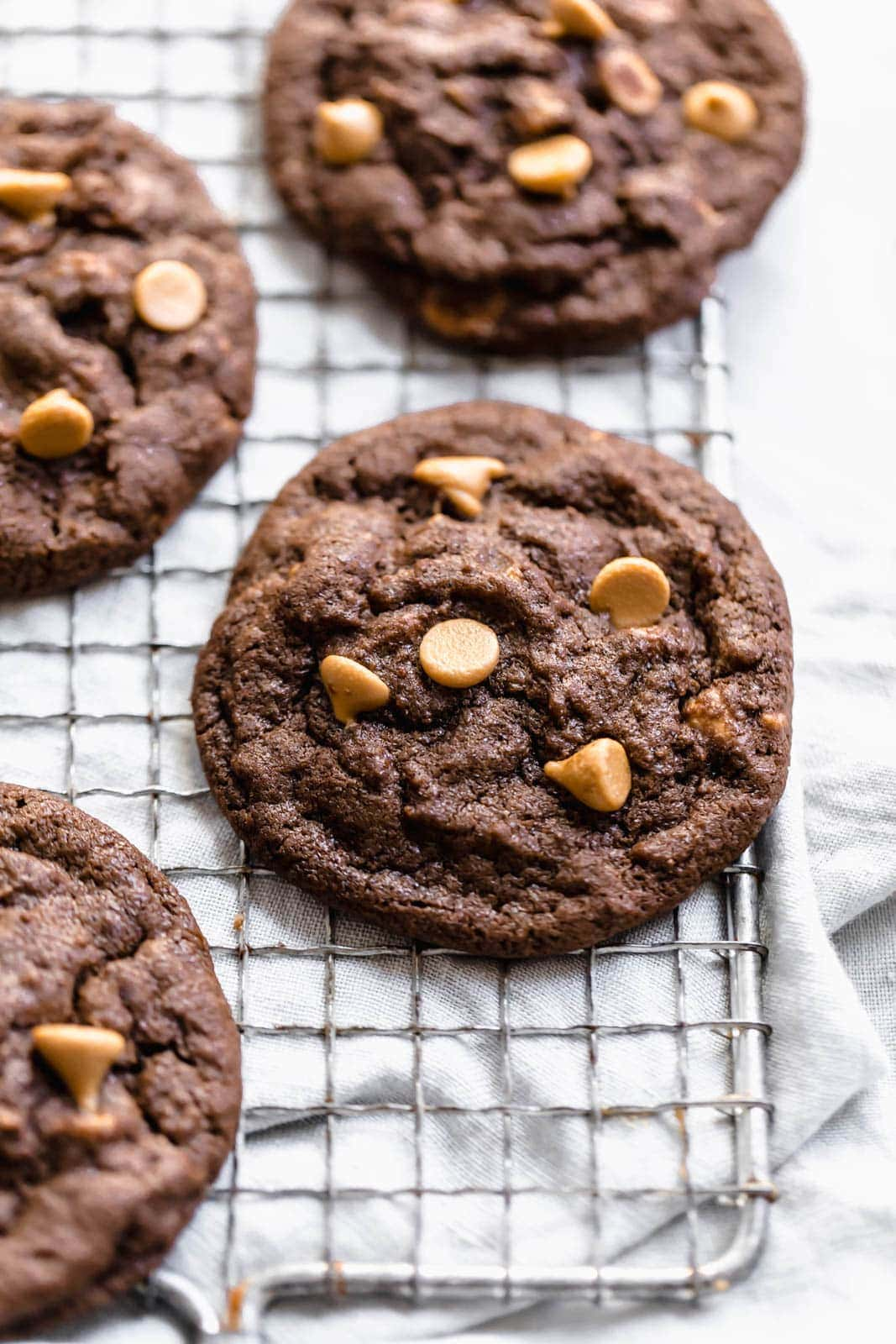 Chocolate Peanut Butter Chip Cookies on wire rack