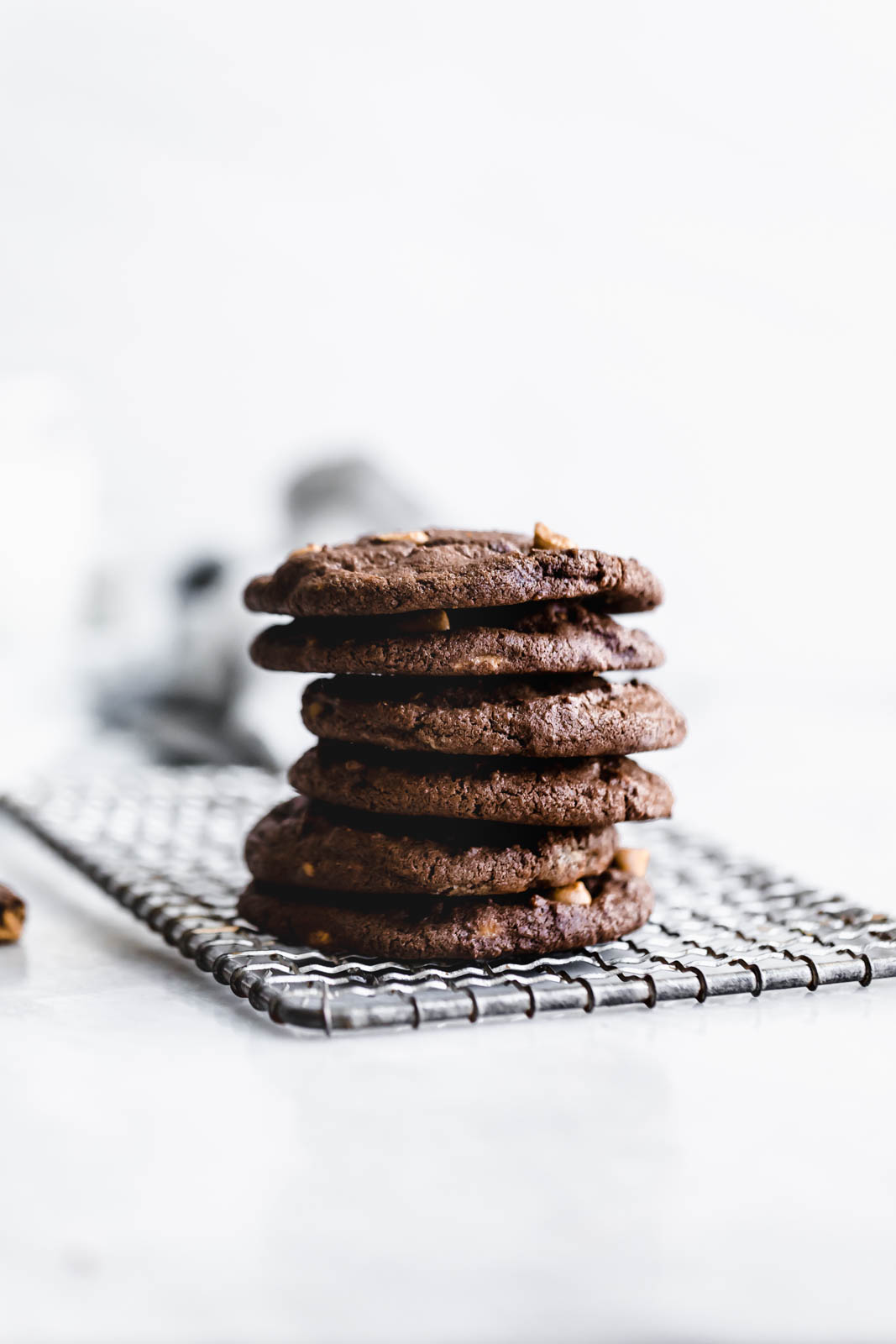 stack of Chocolate Peanut Butter Chip Cookies