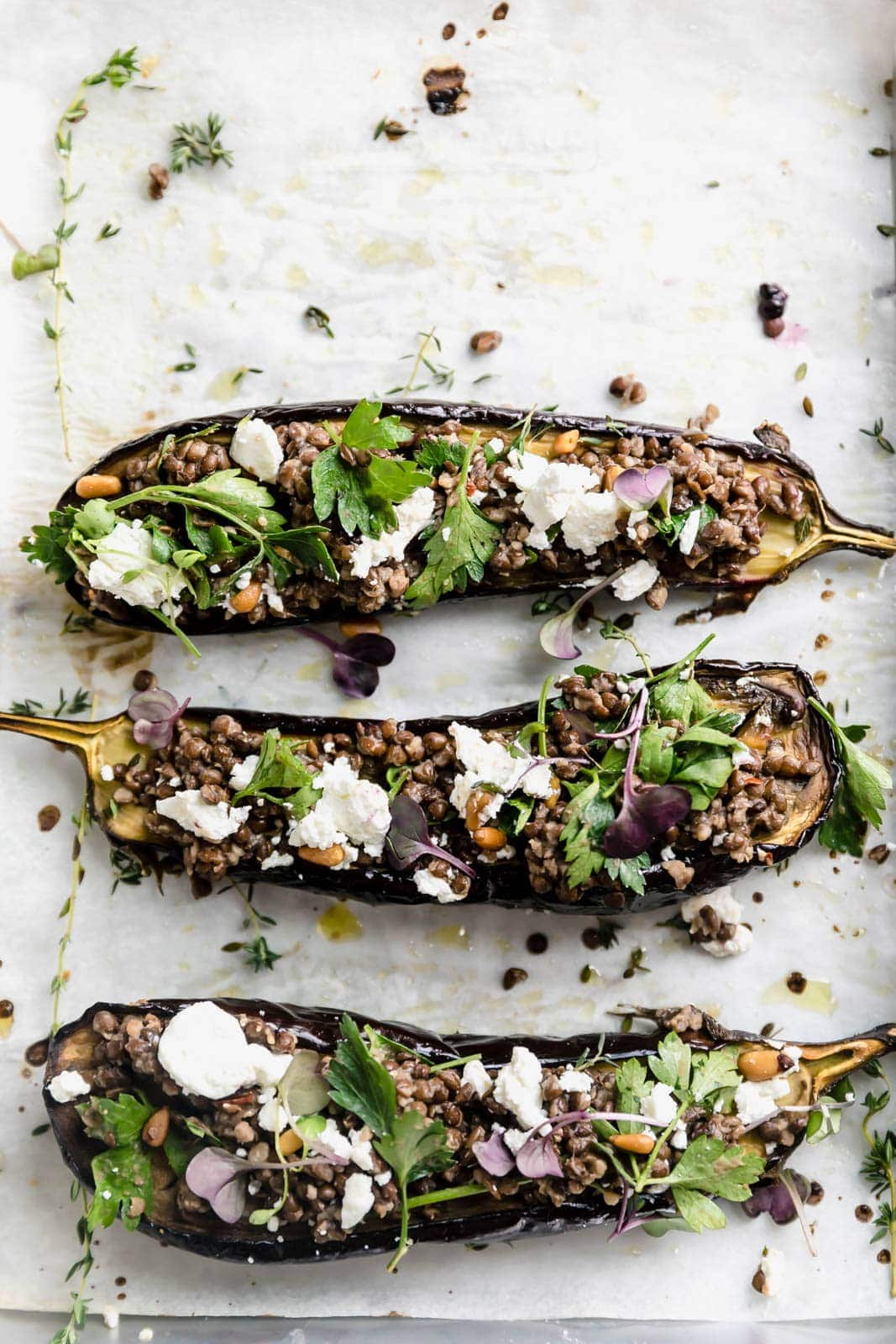 Roasted Baby Eggplant with Goat Cheese and Lentils is a simple, hearty, and satisfying dish you'll want to make every weeknight this winter!