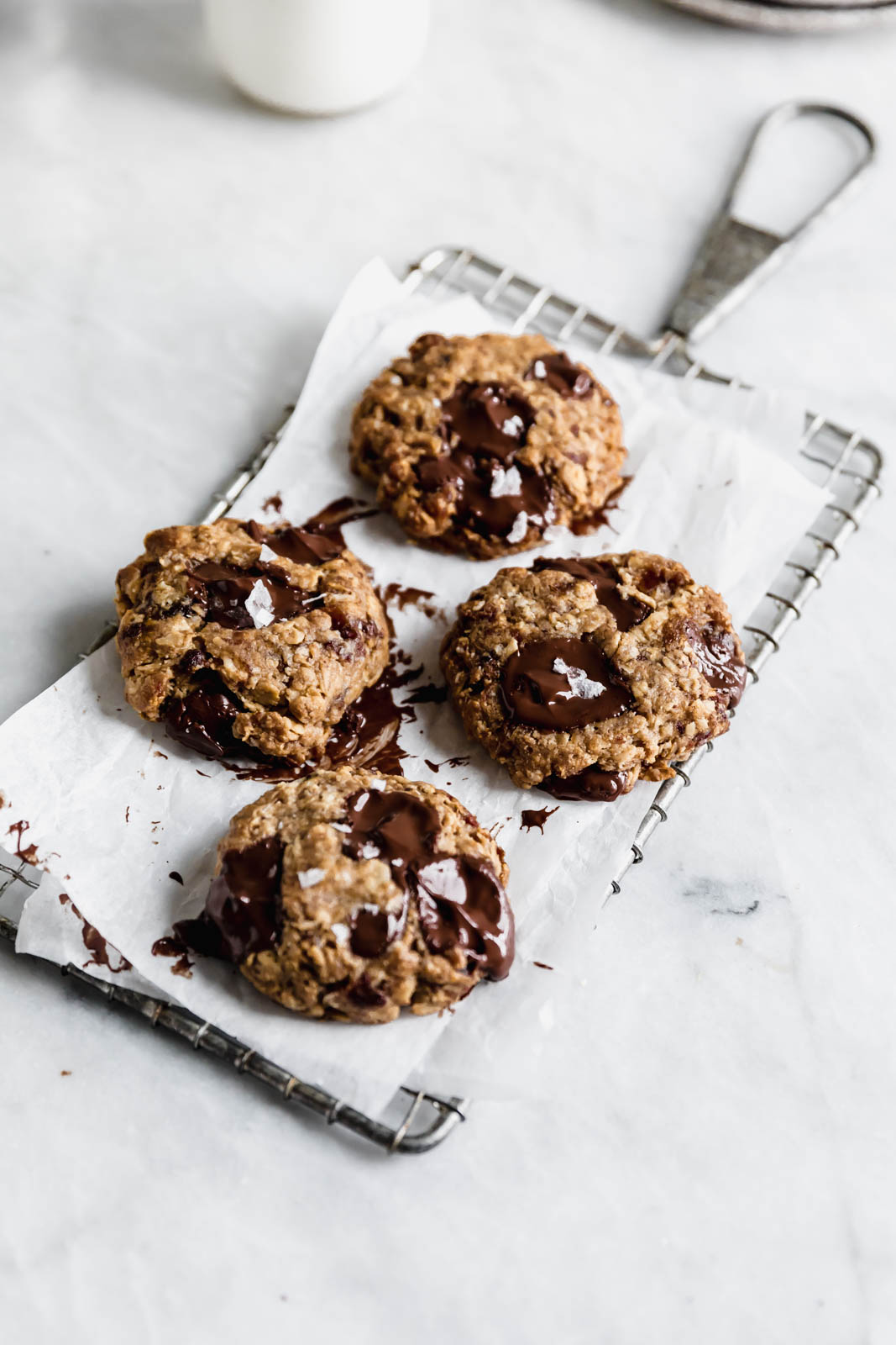 Yes these Tahini Oatmeal Chocolate Chunk Cookies are vegan, gluten free, and refined sugar free, but they sure as heck don't taste like health food. DROOL.