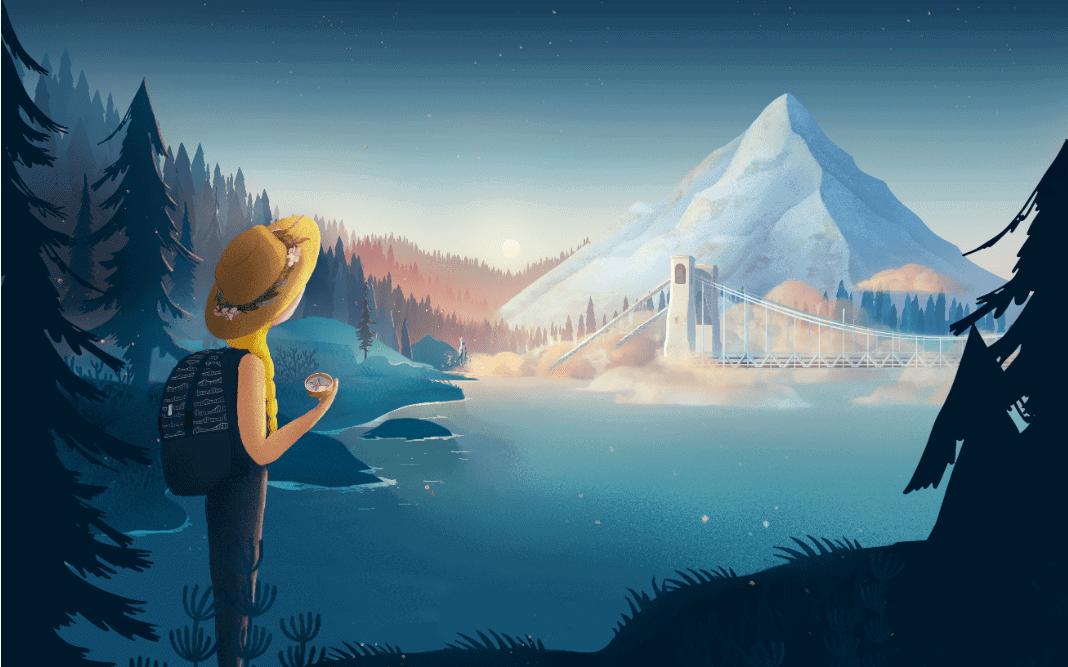 Ilustracja Narny.World na tle Gór i Mosty Grunwaldzkiego