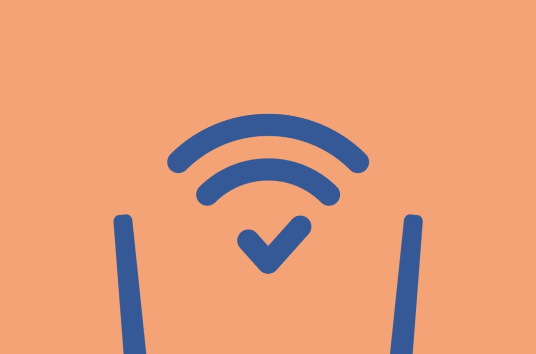 Wifi router with checkmark in the wifi signal.