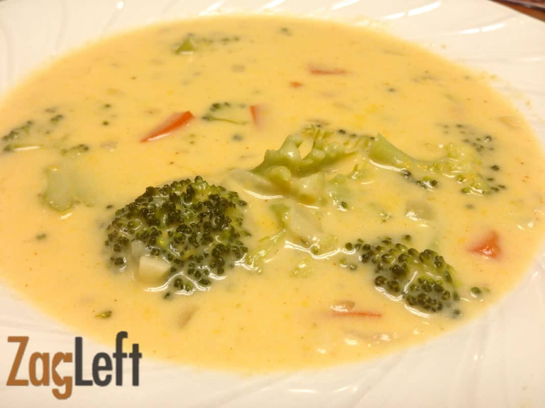 Closeup of a bowl of Broccoli Cheddar Soup