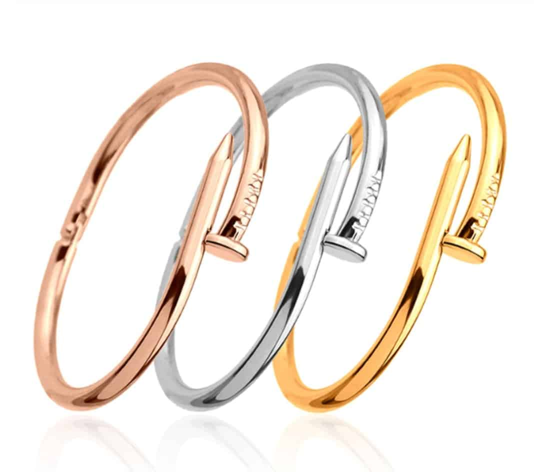 Cheap Cartier Jewelry Replica Bracelet Pendant Jewelry Titanium Stainless Steel Juste Un Clou Bangle de Cartier collection Rosegold