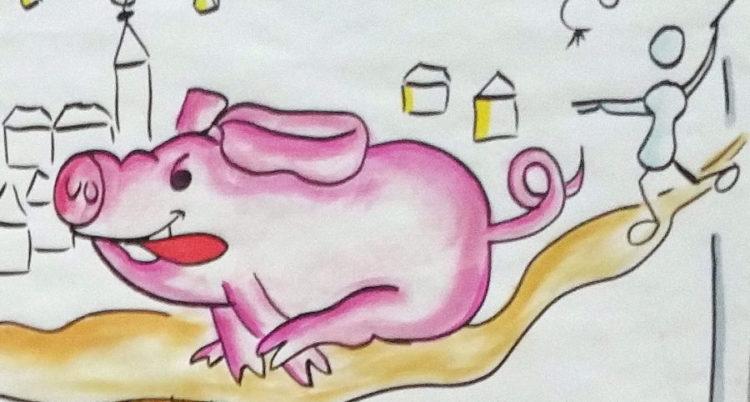 Rennendes Schwein