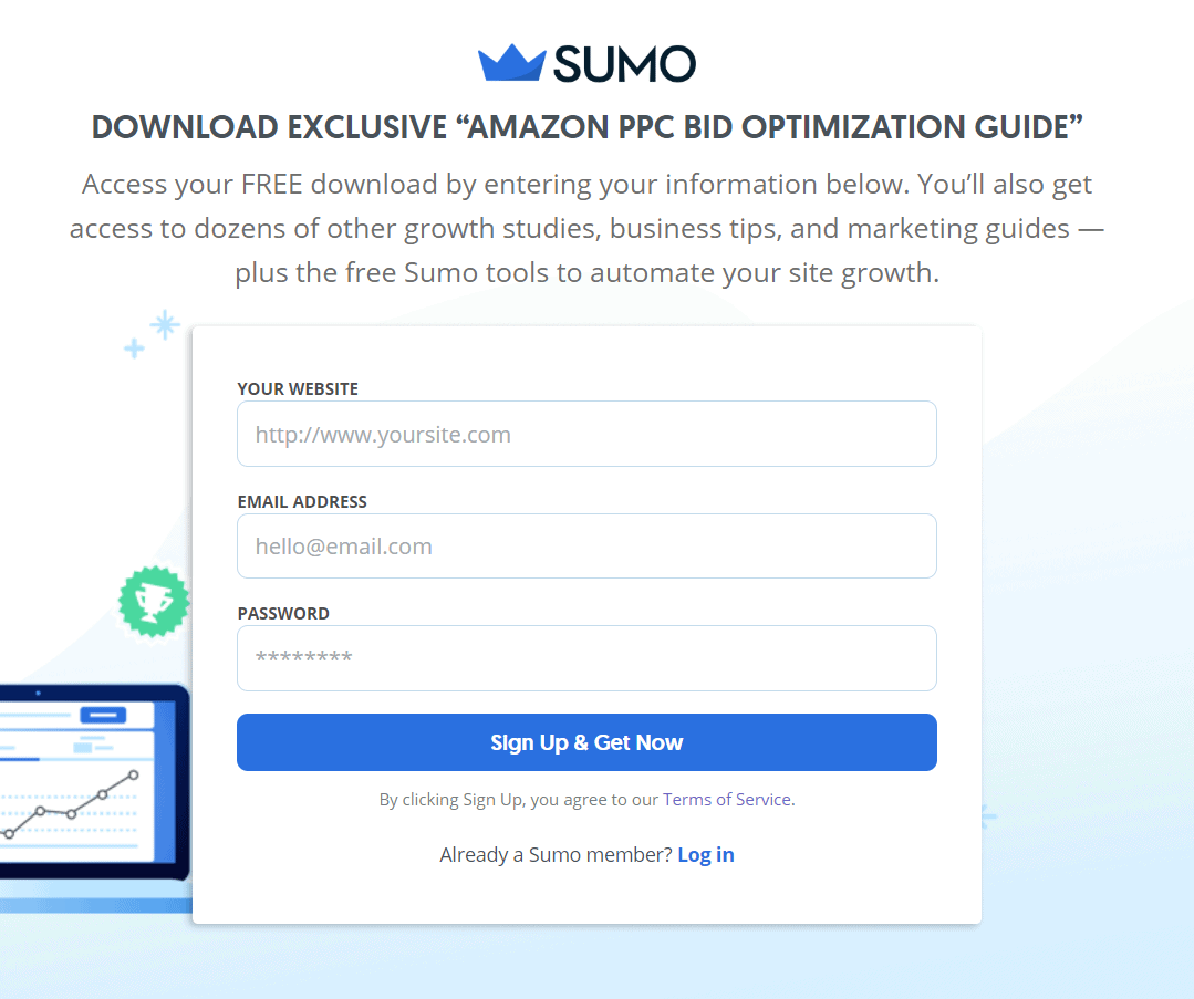 Sumo lead generation form inspiration