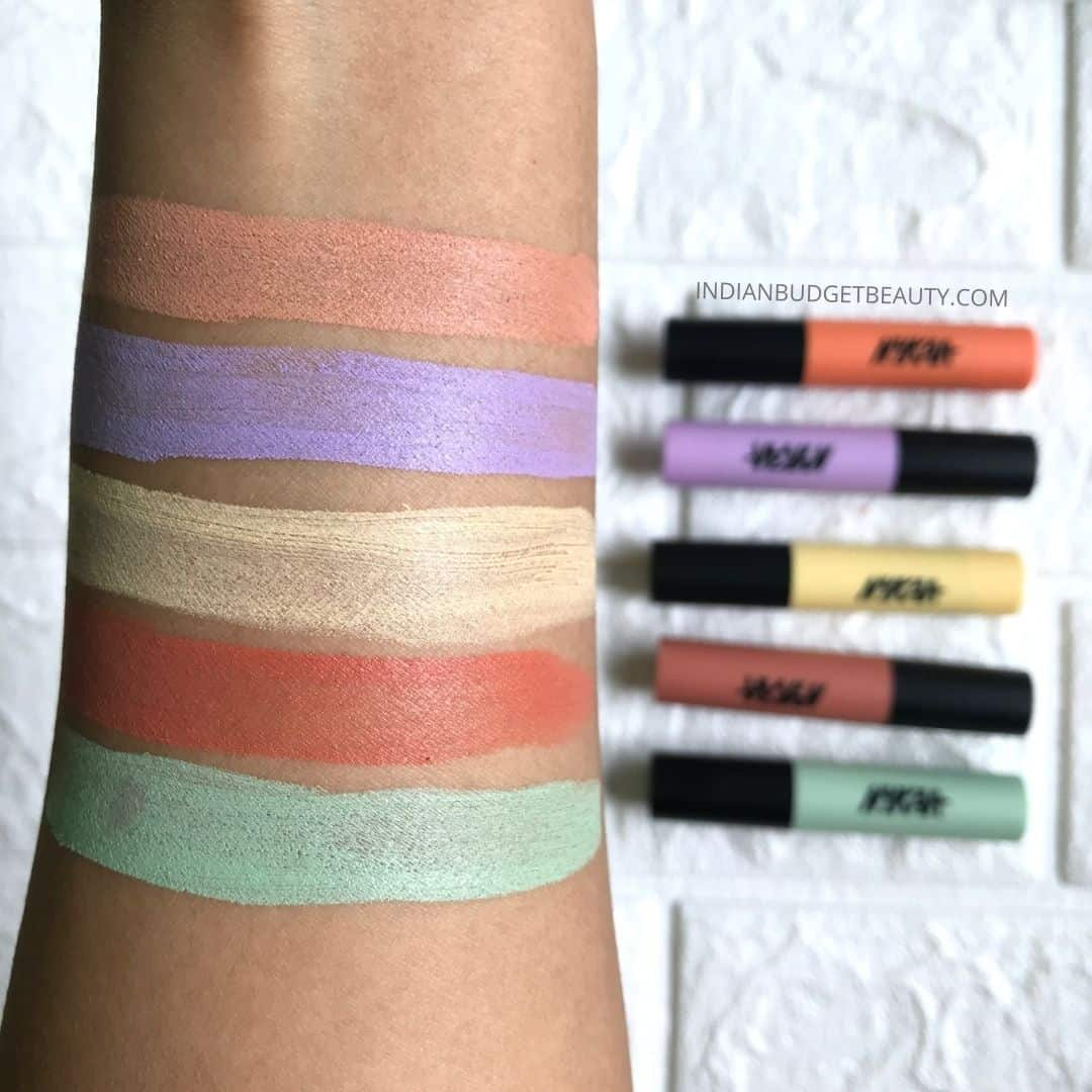 nykaa instablur color corrector stick swatches