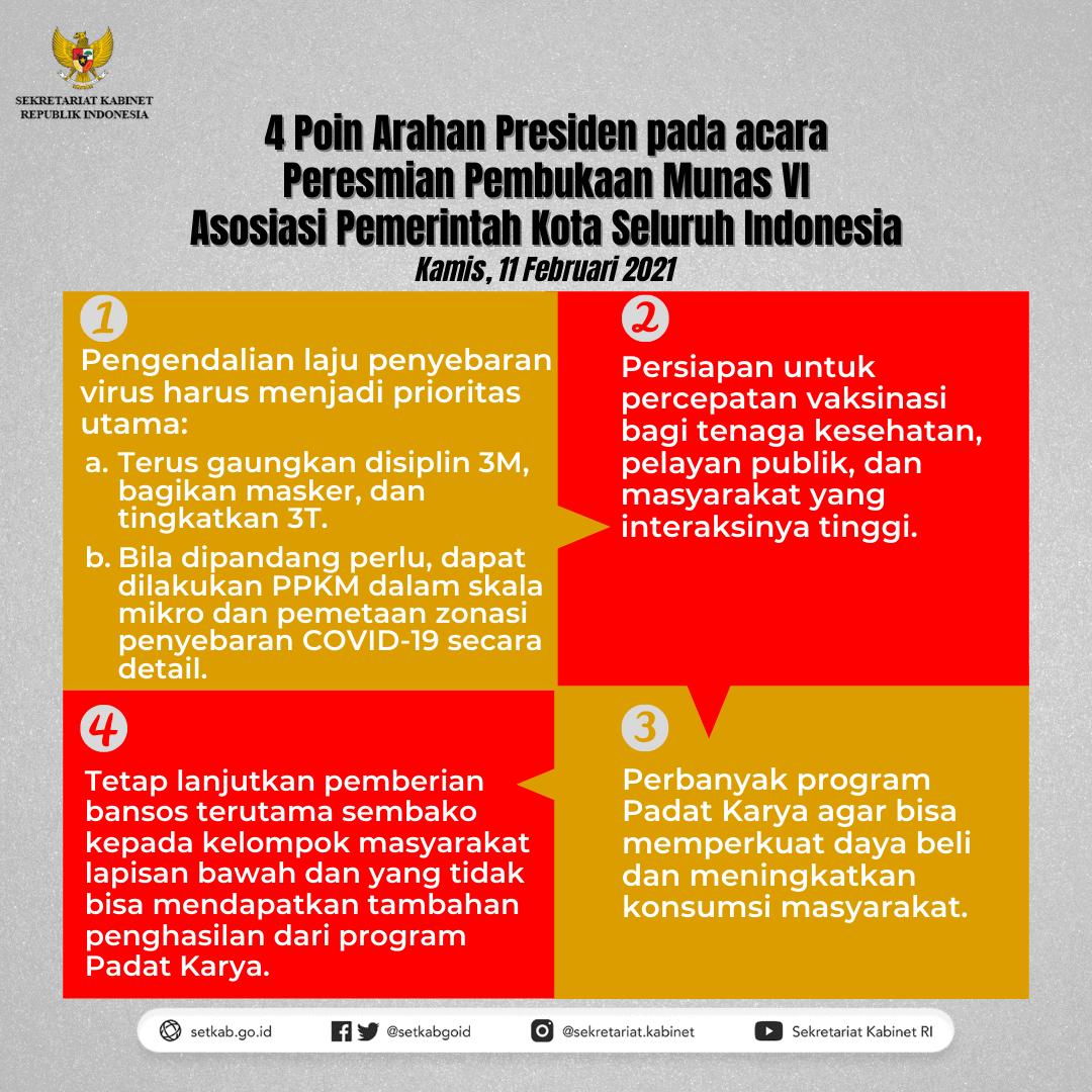 Arahan Presiden Jokowi pada Peresmian Pembukaan Musyawarah Nasional VI Asosiasi Pemerintah Kota Seluruh Indonesia