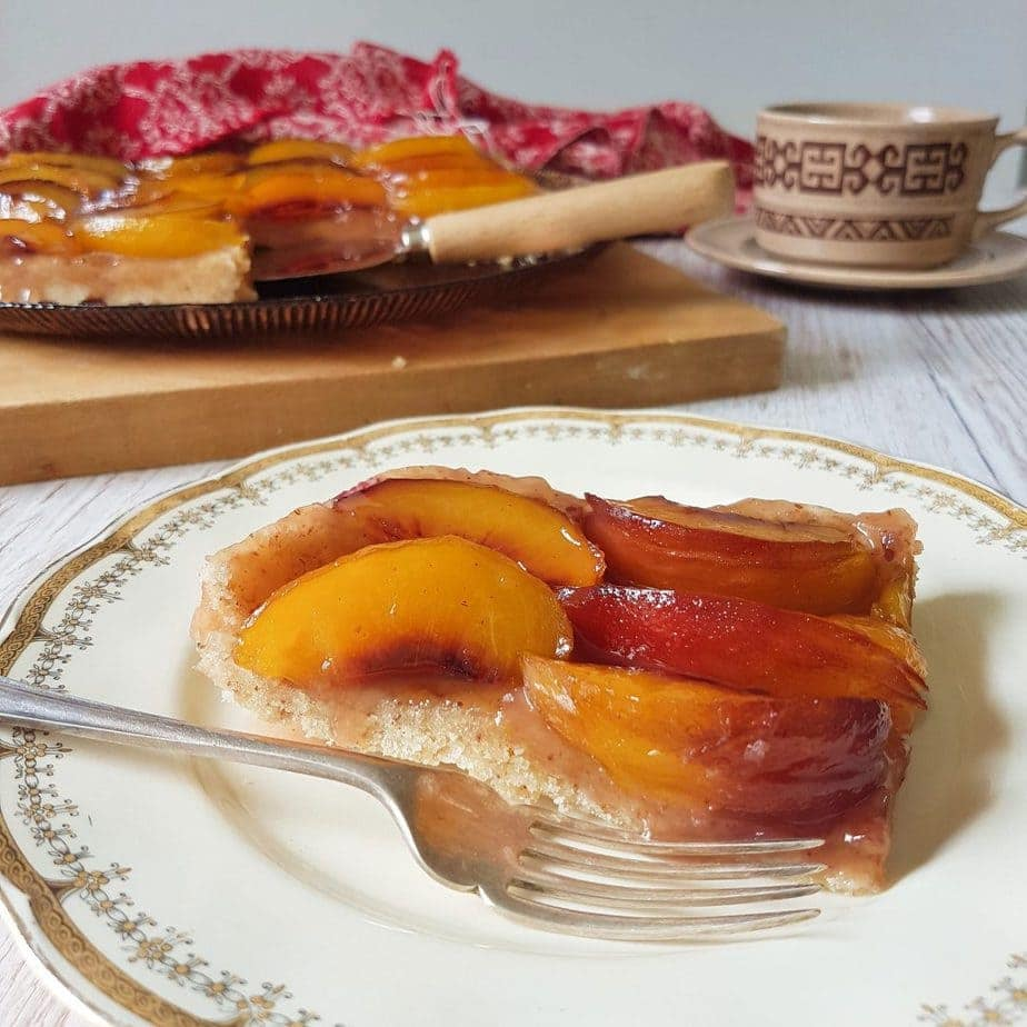 Spiced Peach Tart Tatin - gluten free, dairy free and egg free too.
