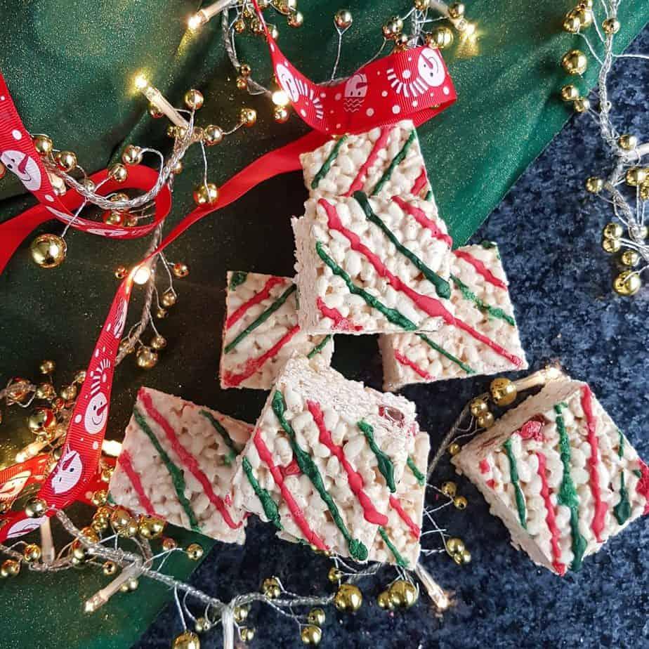 Christmas Candy Cane Rice Krispy Treats Made Dairy Free