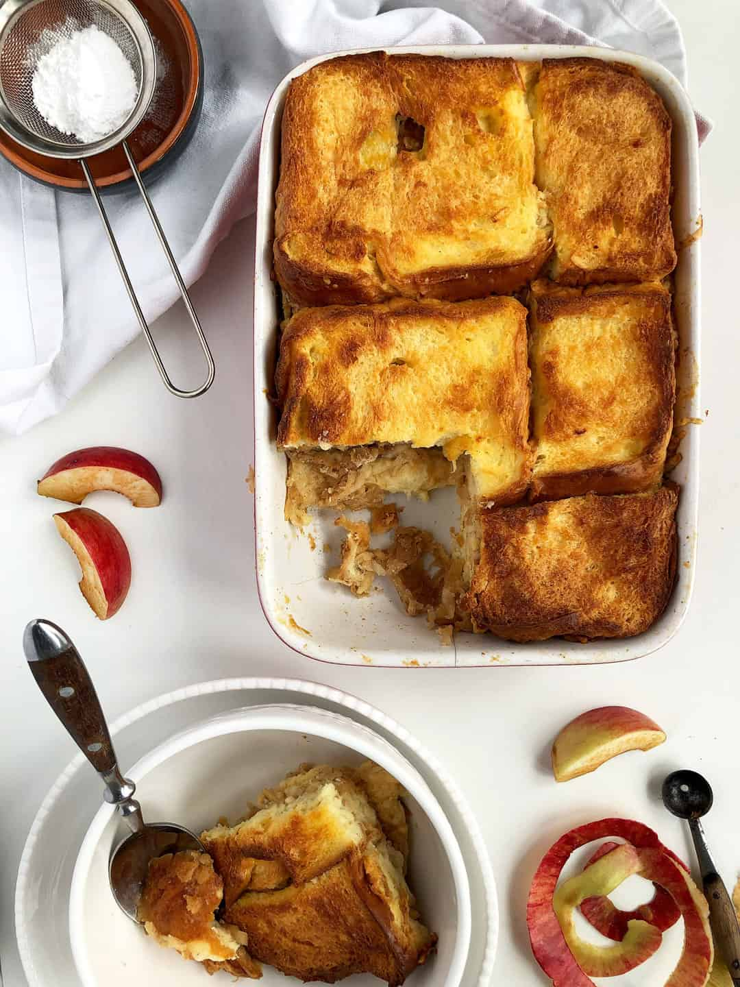 Layered Brioche Bread Pudding with Grated Apples