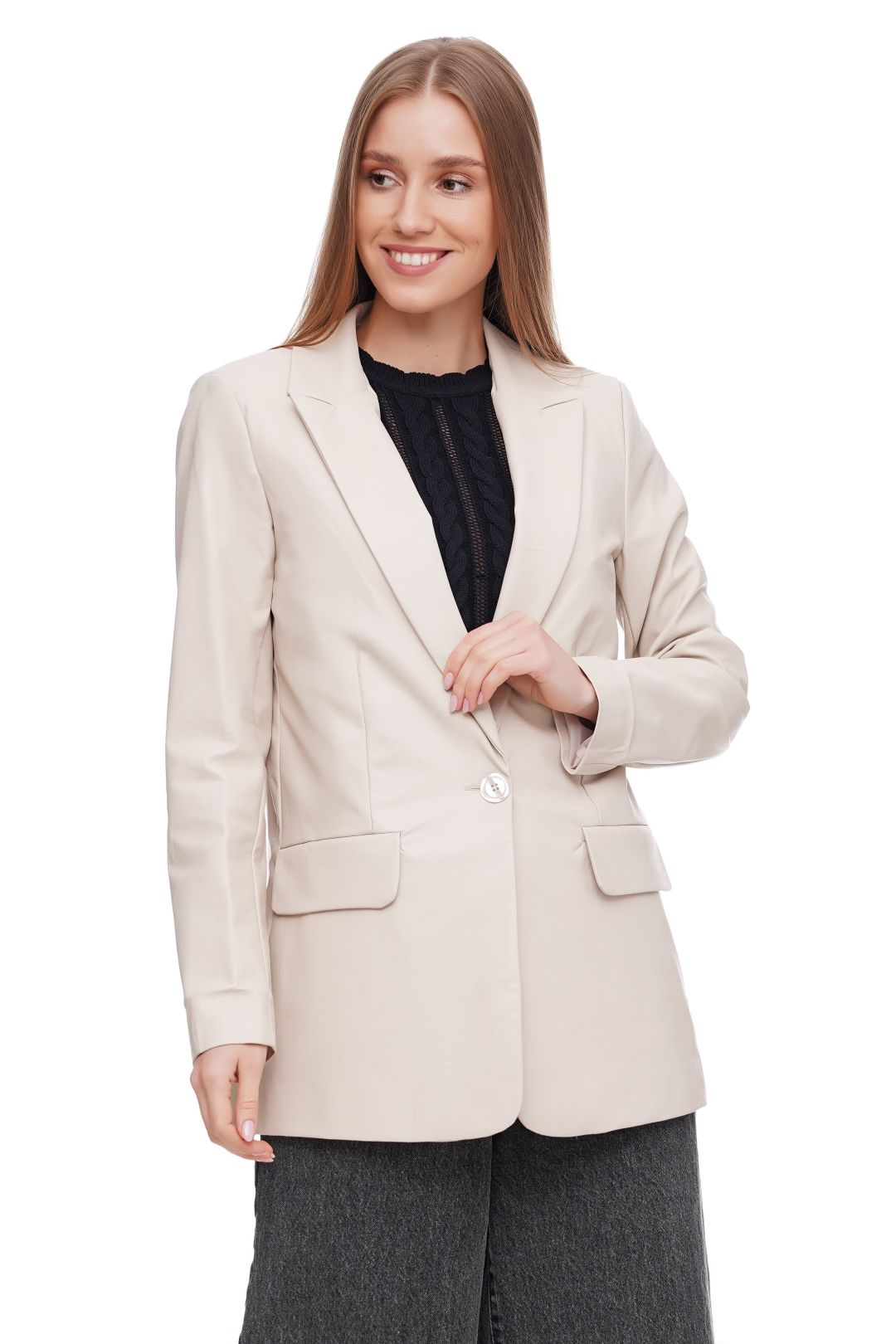 Leder Optik Blazer ANGELA DAVIS