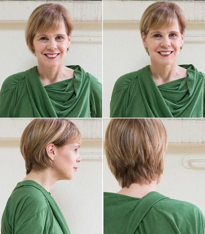 A new asymmetrical hairstyle and a green dress with sleeves