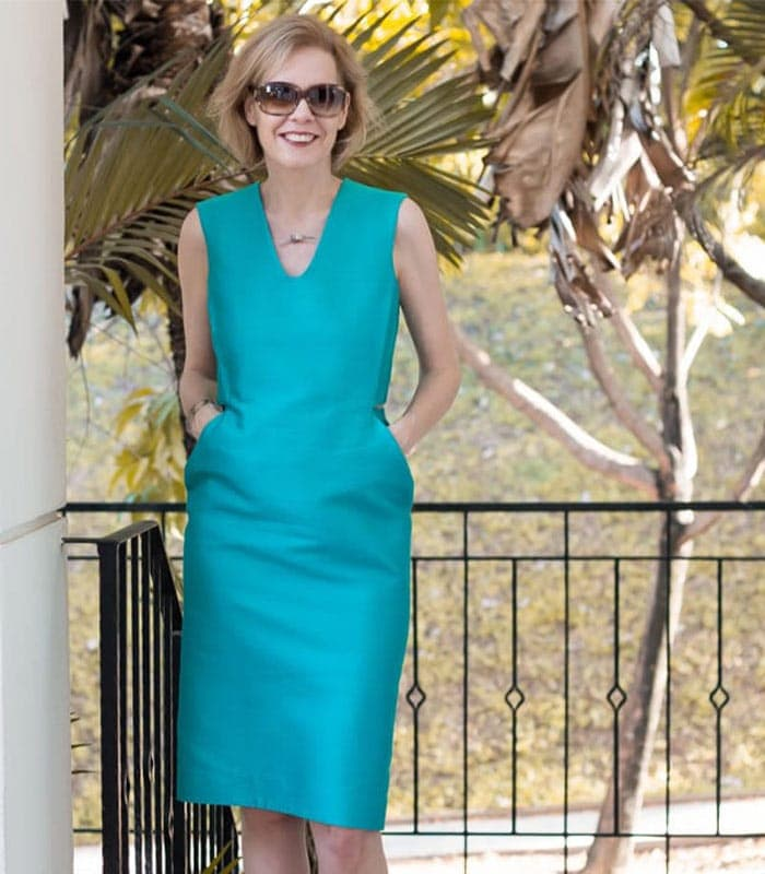The blue green party dress
