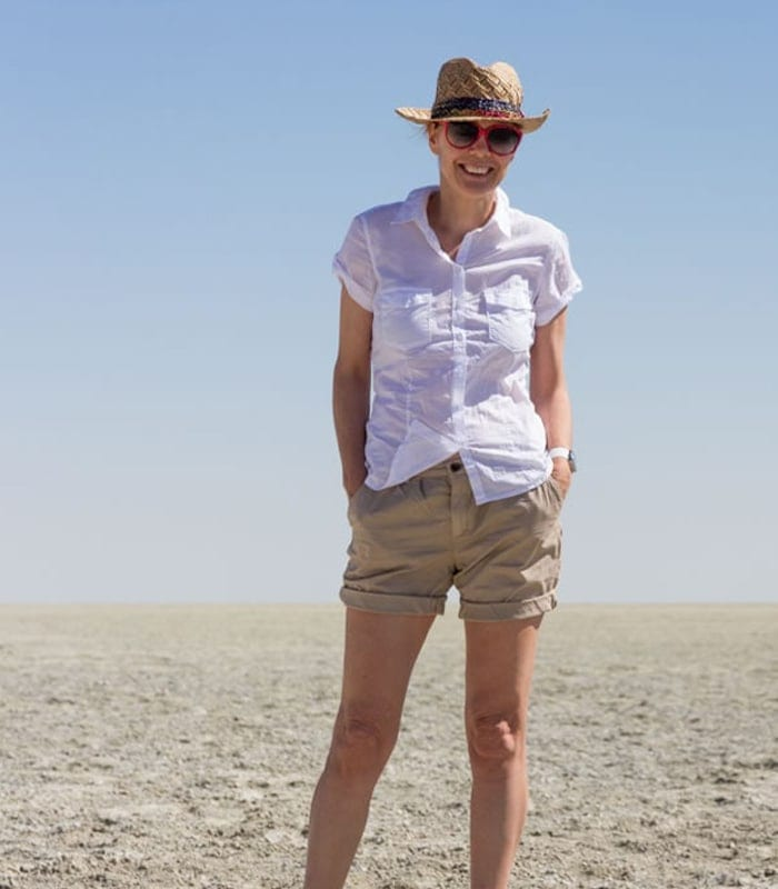 Wearing shorts on a wildlife safari in Etosha Park, Namibia