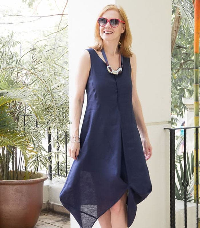 A navy blue draped dress for hot summer weather!