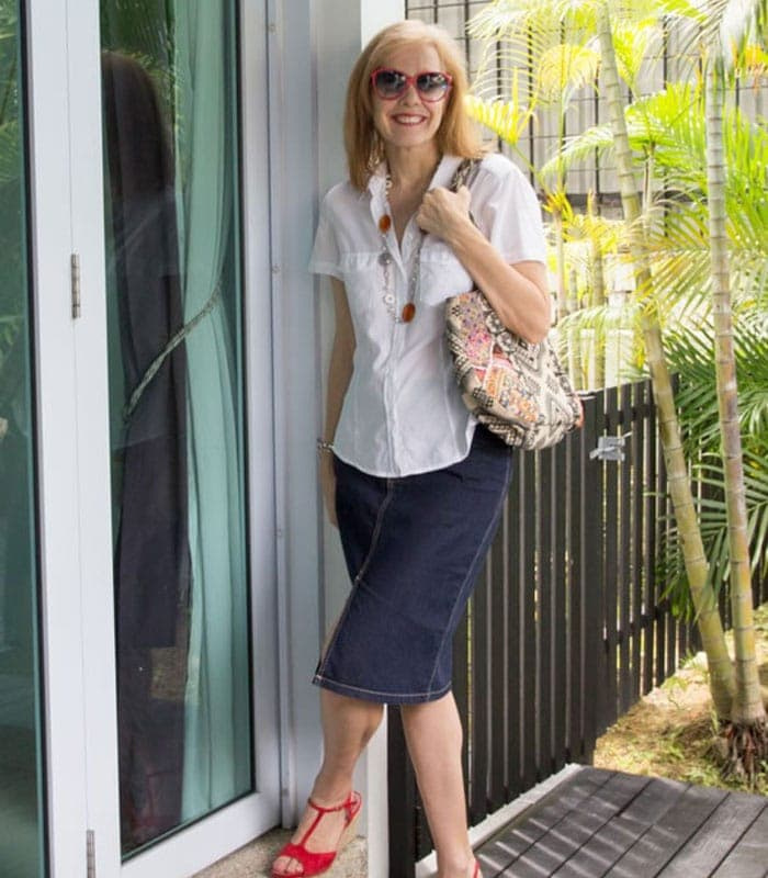 40+Style Casual Summer Style Challenge – look 8 – denim skirt with a white blouse
