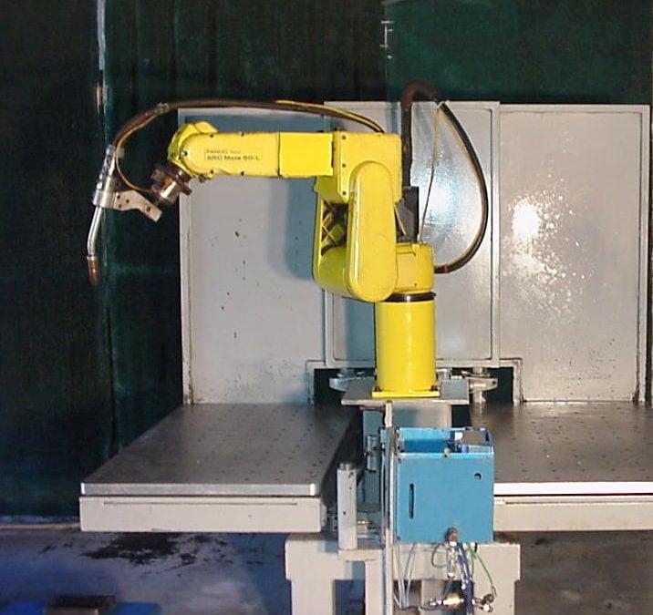 FANUC Arcmate 50iL Robot R-J3 Controller Genesis Welding Cell + 2 Miller Welders
