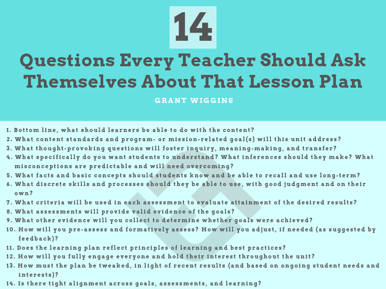 14 Questions Every Teacher Should Ask Themselves About That Lesson Plan